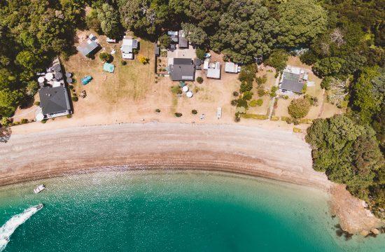 a birds eye view drone photo of orokawa peninsula in the bay of islands