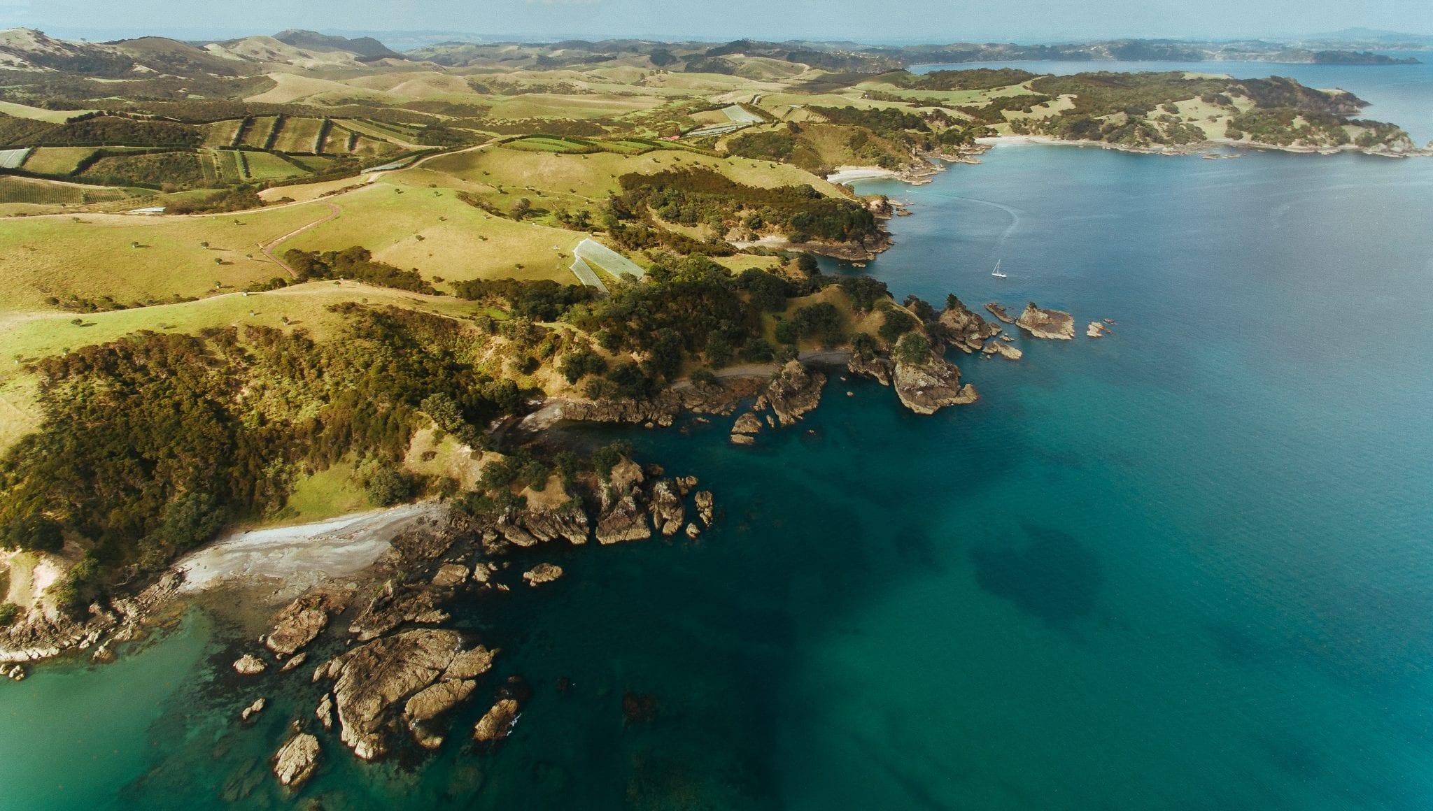 the coast of waiheke island captured by drone