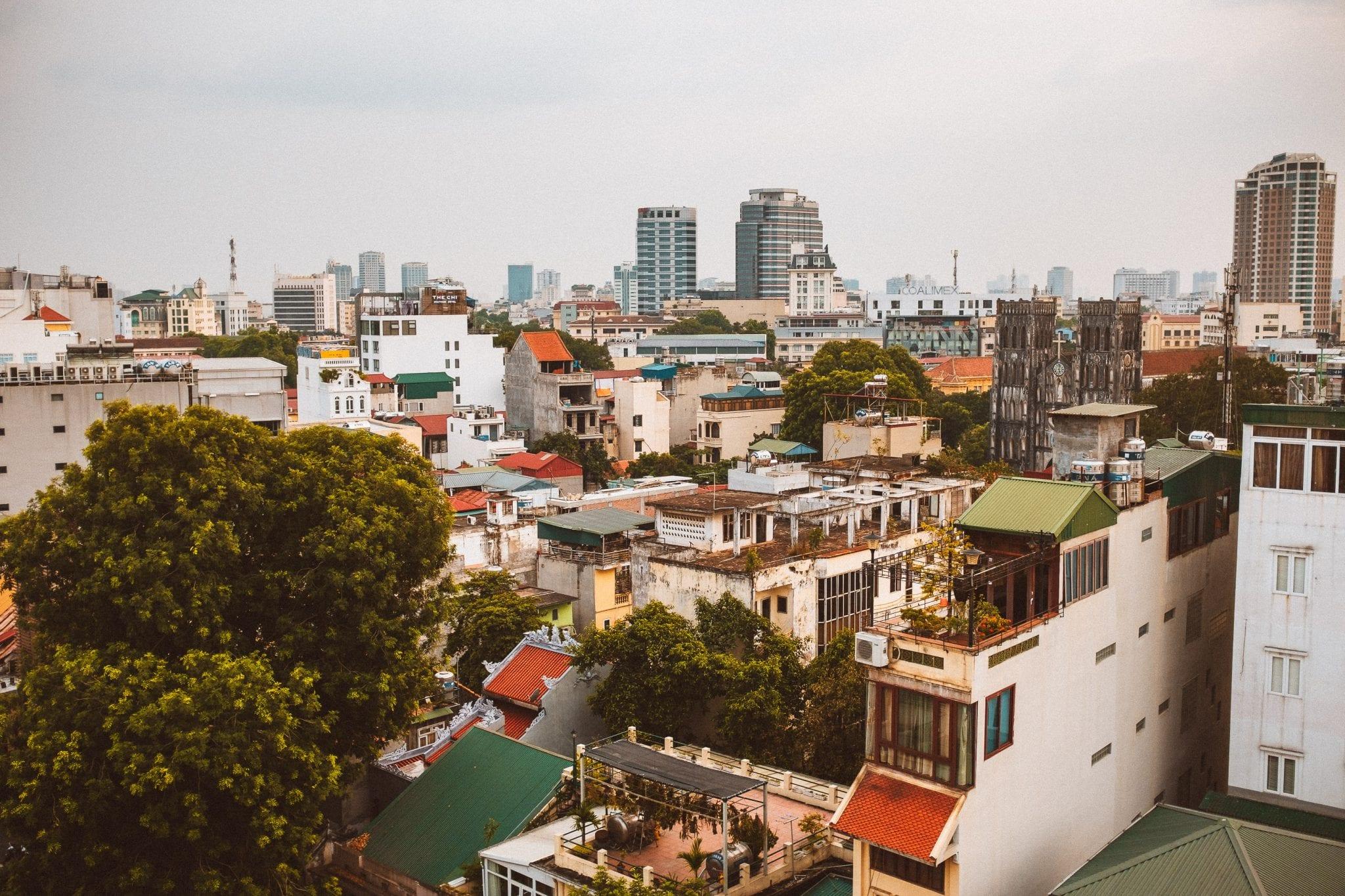 looking across the buildings of hanoi in vietnam